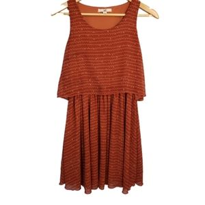 Ya Los Angeles Rust Print Tiered Dress